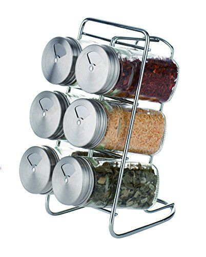Suregem Spice Rack Organizer And Glass Jars With Revolving Stainless Steel Lids For your Regularly Used Spices And Herbs