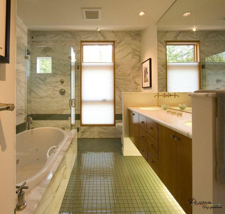 Зонированное освещение просто необходимо в интерьере ванной комнаты