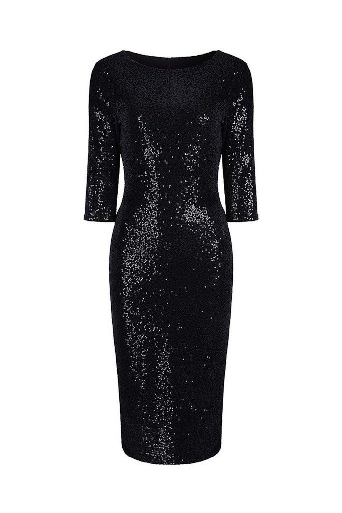 Black Velour Sequin Wiggle Dress