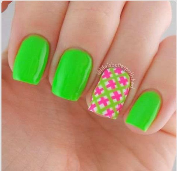 pink and green nails - The 25+ Best Lime Green Nails Ideas On Pinterest Neon Green