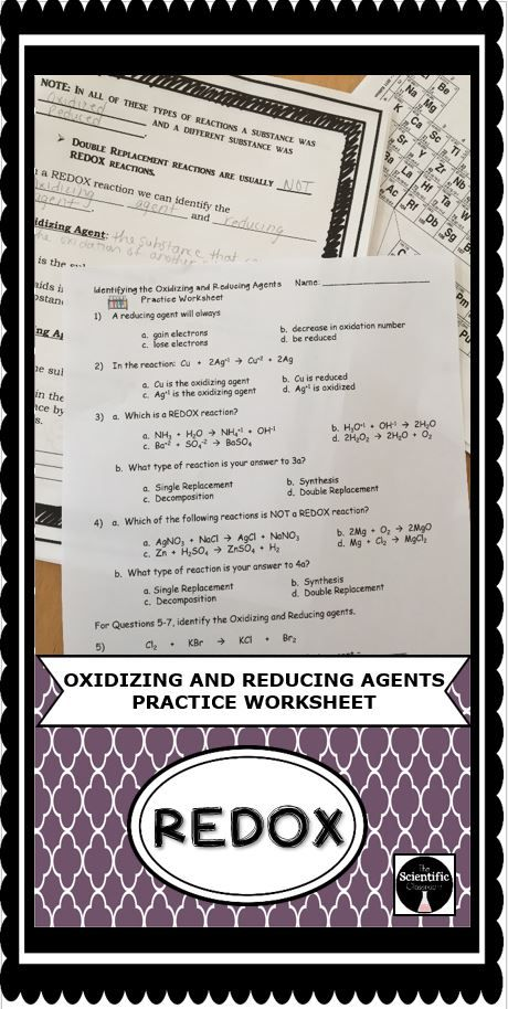 Students will be practicing identifying the oxidizing agent and reducing agent in a REDOX reaction by completing this practice worksheet. The worksheet contains 9 questions, some multiple choice and some fill in the blank, that cover identifying a REDOX reaction, and the oxidizing and reducing agents in a REDOX reaction.  This practice worksheet can be done in class or as homework.
