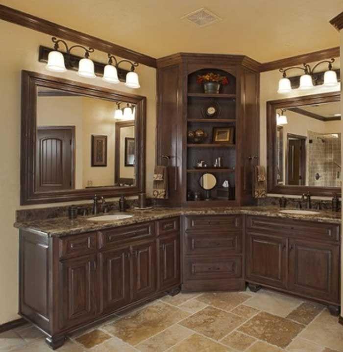 Corner Bathroom Sink Vanity With Some Light And Also Double Mirror Countertop Granite