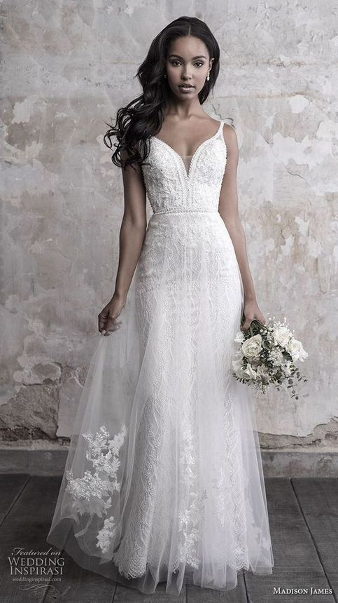 White spaghetti wedding dress white lace wedding dress tulle bridal dress