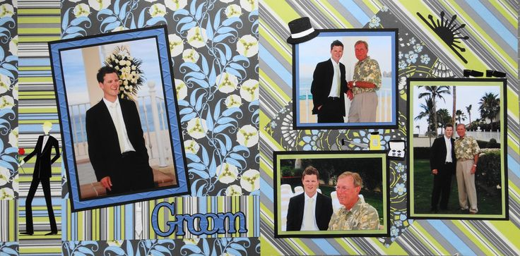 Wedding Scrapbook Page - The Groom - 2 page wedding layout - from Wedding Album 2