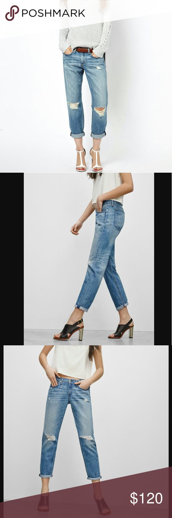 """Rag & Bone Distressed Boyfriend Jean Moss w/ Holes NWT!  Mid rise. Baggy fit; for a closer fit, order one size down. Sizing: 32=12 Inseam: about 24"""" rolled; about 27"""" unrolled rag & bone Jeans Boyfriend"""