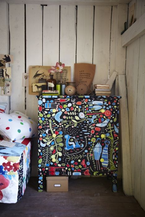 Get crafty! Decoupage fabric onto a TARVA dresser and turn it into a piece that's one of a kind.