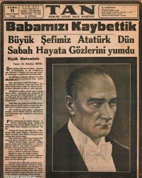 Atatürk'ün vefatını veren gazete