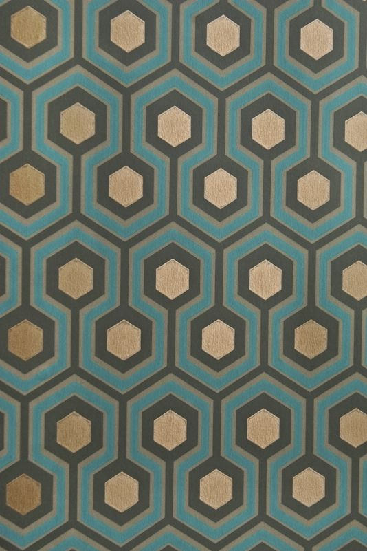 Hicks' Hexagon Wallpaper Small Geometric Design design wallpaper in Charcoal, Turquoise and Fawn with metallic copper embellishment.