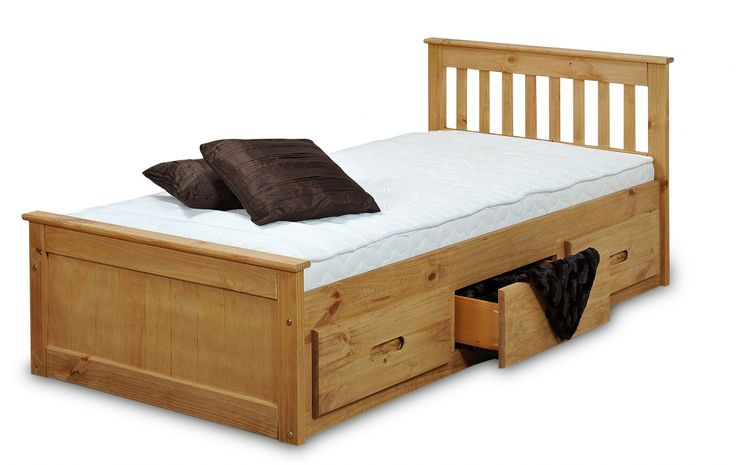 children's beds with built-in drawers   Mission Children's 3FT Single Wooden Bed with 3 Drawers Storage
