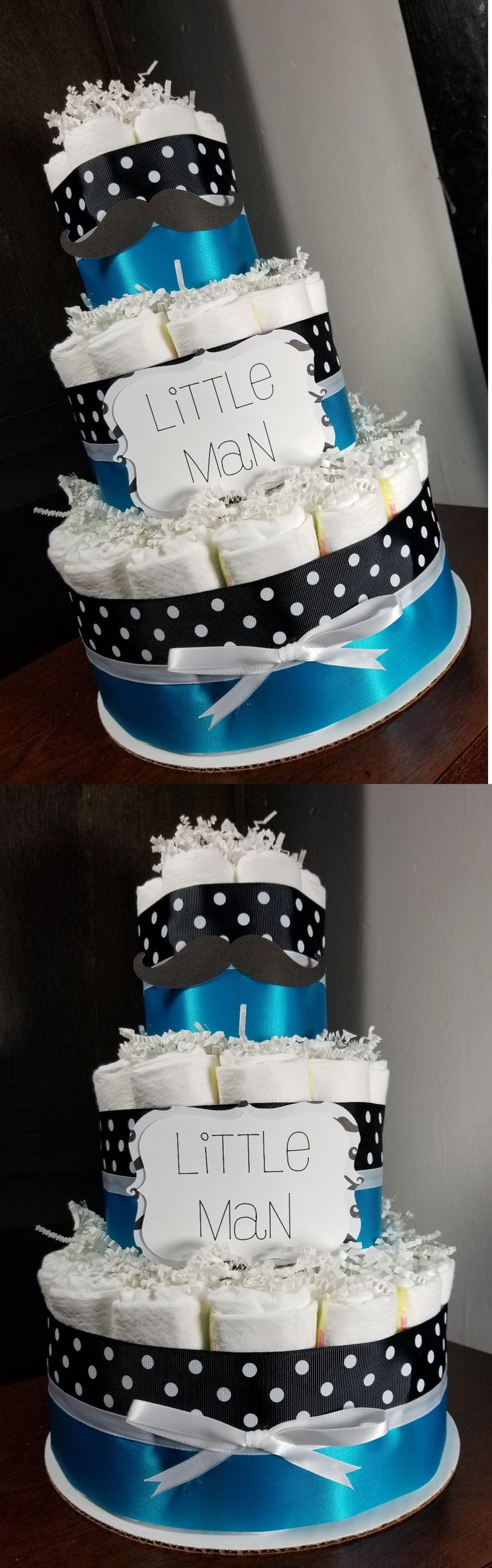 Diaper Cakes 117018: 3 Tier Diaper Cake - Little Man Mustache Theme Black And Blue Baby Shower -> BUY IT NOW ONLY: $43 on eBay!
