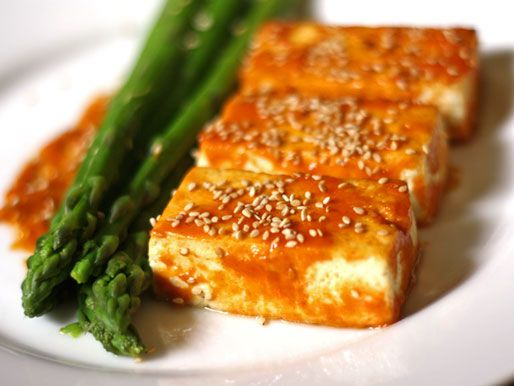 Broiled Tofu with Miso Glaze and Asparagus