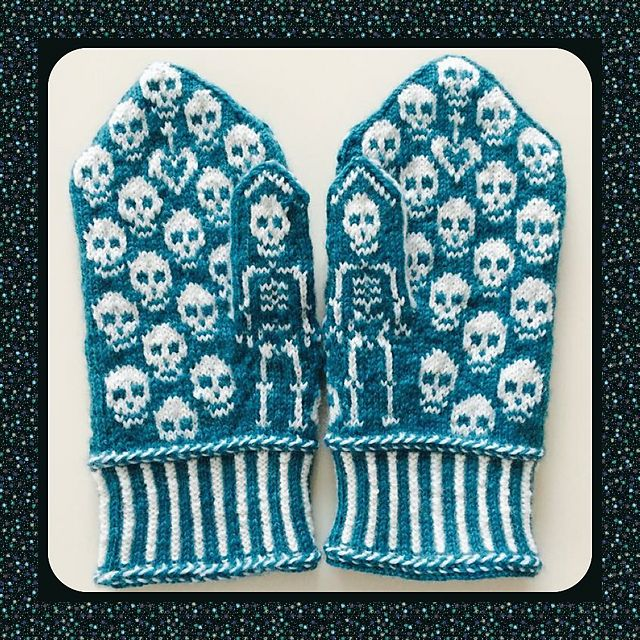 This could be great for Halloween Ravelry: Calaveras mittens pattern by JennyPenny