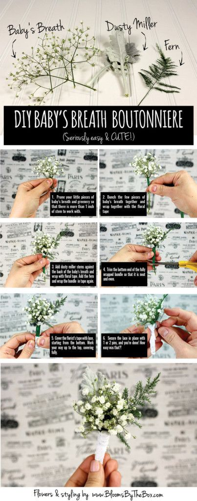 Easy DIY Babys Breath Boutonniere Tutorial  #RePin by AT Social Media Marketing - Pinterest Marketing Specialists ATSocialMedia.co.uk