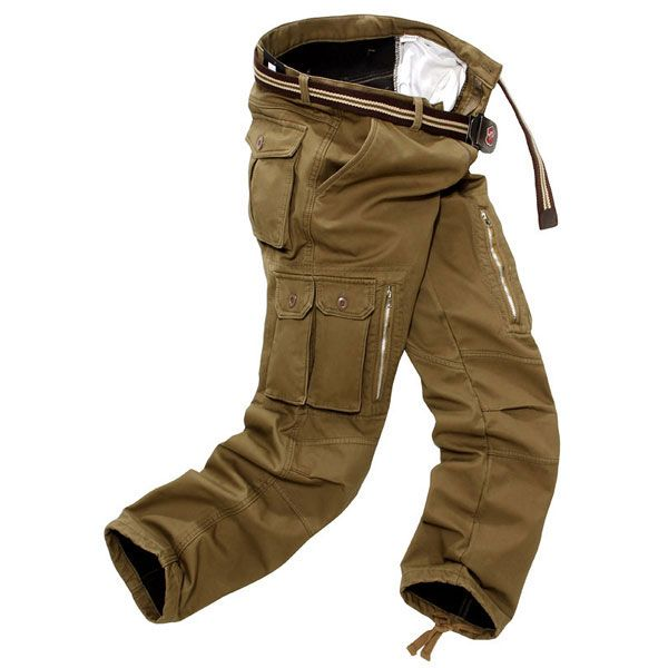 Thicken Mens Winter Polar Fleece Lining Windproof Cargo Pants