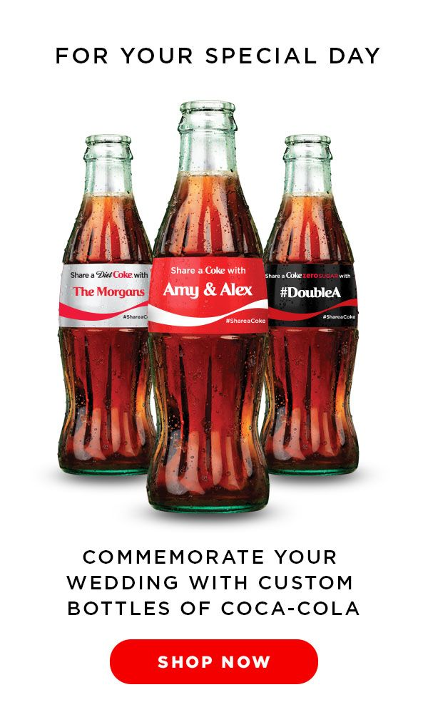 Celebrate your special day with a custom bottle of Coke! Personalized Coca-Cola bottles make perfect gifts for the newlyweds or the wedding party.  Custom bottles are also excellent decor and gifts for your guests at your reception! #shareacoke