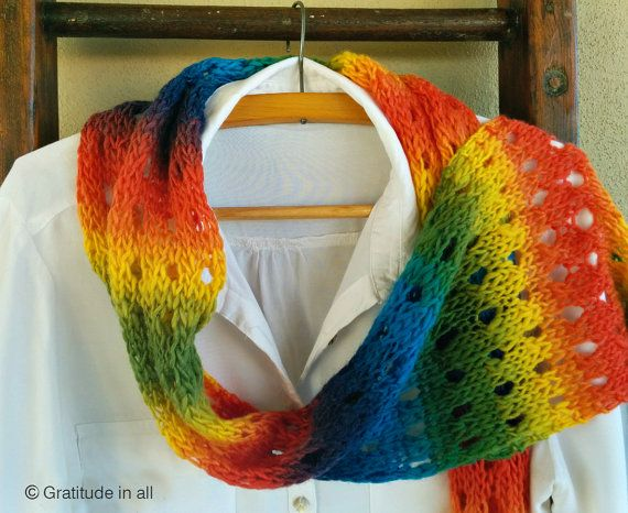 """Hand knitted scarf """"Rainbow"""""""