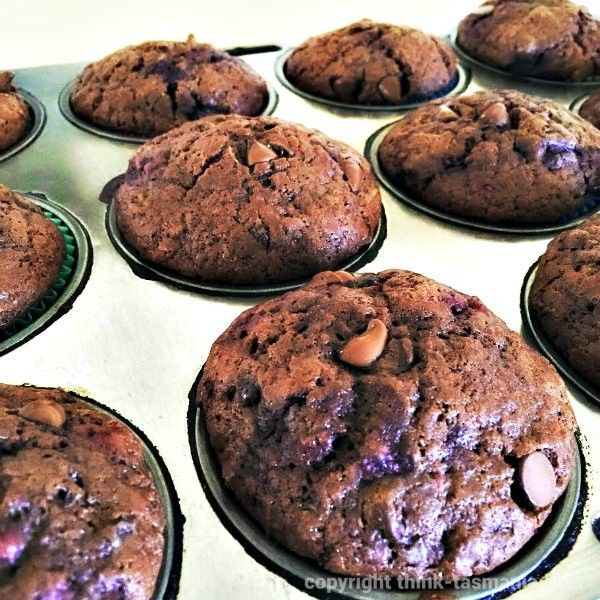 Chocolate and Raspberry Muffins: a recipe. Frozen Tasmanian berries from Howrah Fresh Fruit and Veg ~ article and photo by think-tasmania.com ~ #Tasmania #Berries #Raspberry #Chocolate #Foodie #Recipe