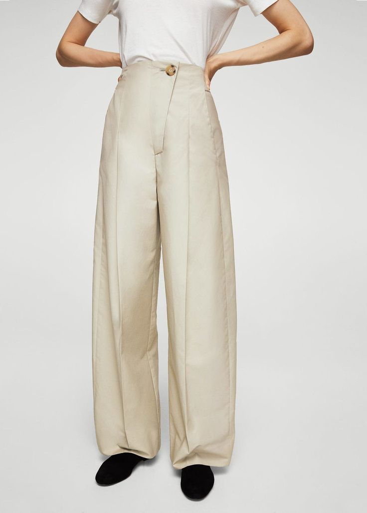High-waist palazzo trousers - Woman | MANGO South Africa