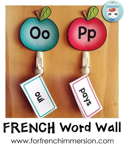 French Word Wall - to save up on space, cut the cards and keep them on binder rings! This works great next to writing center - kids can grab the cards when they need them.