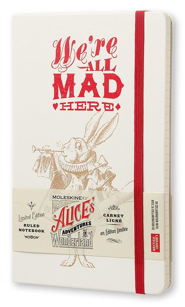 Agendă Moleskine Alice's Adventures in Wonderland Limited Edition Notebook, Large, Ruled, White