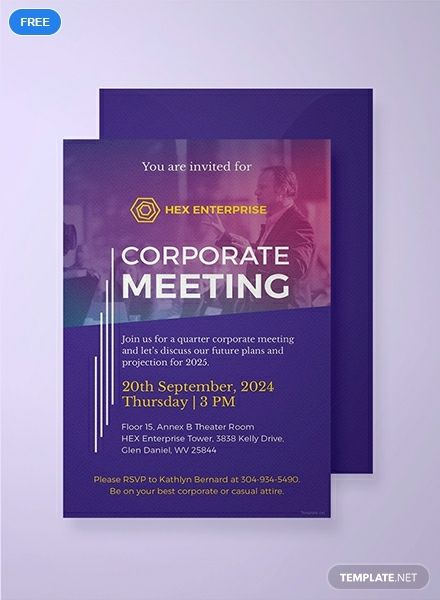 Free Sample Meeting Invitation Business Invitation card Designs
