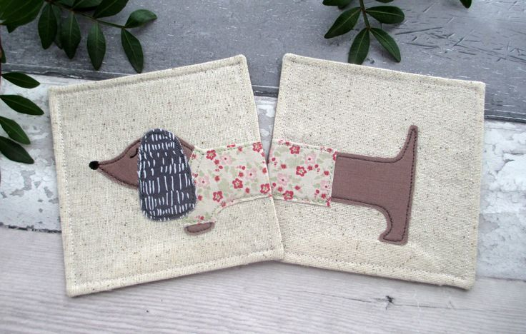 Dachshund Coasters, Drink Coasters, Dachshund Gift, Fabric Coaster, Sausage Dog Gift, Birthday Gift, Gift For Her, Dog Coasters by TheCornishCoasterCo on Etsy