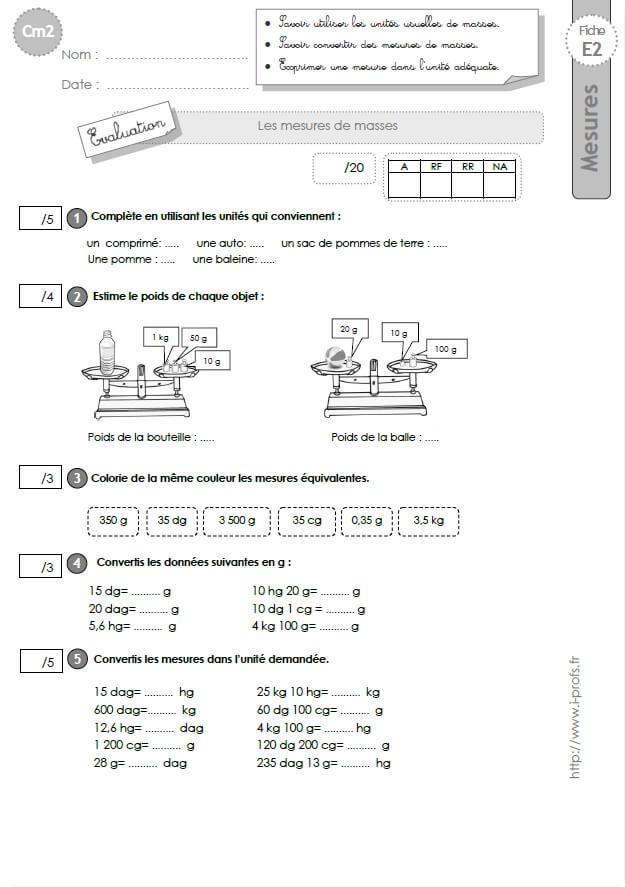 cm2: Evaluation sur les MESURES de MASSES | Evaluation cm2 ...