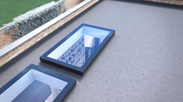 2 by 1 meter EOS fixed #rooflights on flat roof with a glimpse into modern extension.