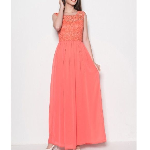 Peach coral maxi dress pink lace bridesmaid Suuuper cute maxi dress! Ready to ship size S Dresses Maxi