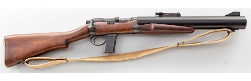 The de Lisle Carbine is an integrally silenced Lee-Enfield SMLE MkIII bolt action rifle. The barrel is from an American Thompson submachine gun.  William Godfray de Lisle created an integrally suppressed carbine that fired the .45 ACP cartridge from a modified M1911 pistol magazine. Fewer than 200 were made during WW2.     The carbine was used by allied troops in several covert missions, including the assassination of two German officers during efforts to aid the French Resistance