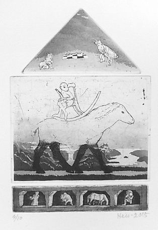 Taidelainaamo - Outi Heiskanen: Matkapuheita (nimetön), vedos Grafiikka 16 x 23 cm 500.00 € tai 20.00 € (25 kk)