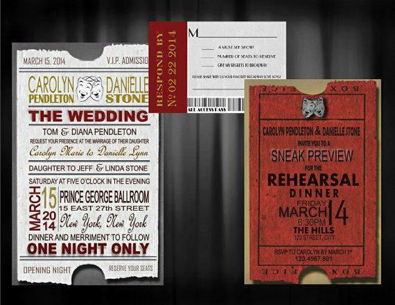 Theater ticket Wedding Invitation, RSVP, and Rehearsal dinner invite--Digital Download or Printed Option