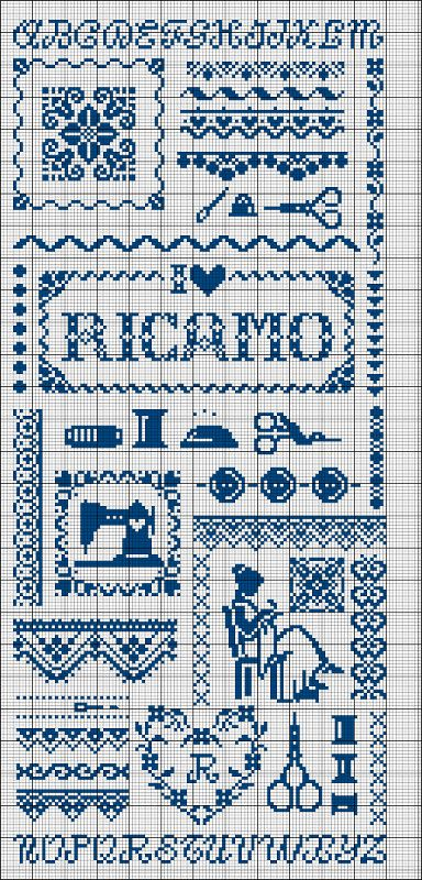 #bluework #cross-stitch #sewingtheme #abc's #borders #scissors #sampler