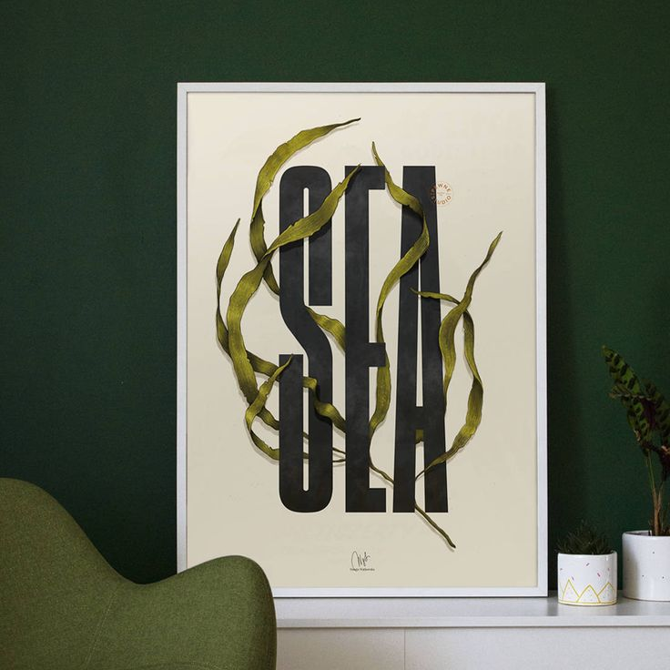Typo poster // Sea typo illustration // Handmade poster