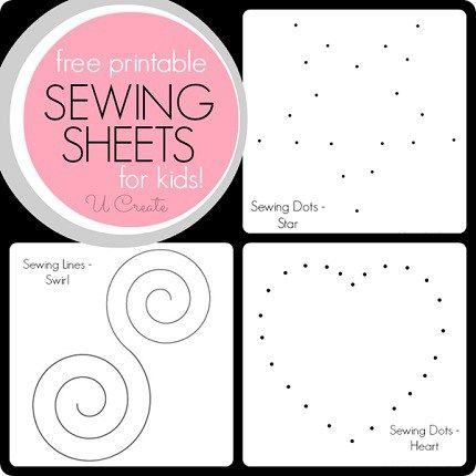 U Create shares some free printable sewing sheets.  To use them, just print them out on regular printer paper and stitch them on your machine, connecting the dots to form the pictures.  There are t…