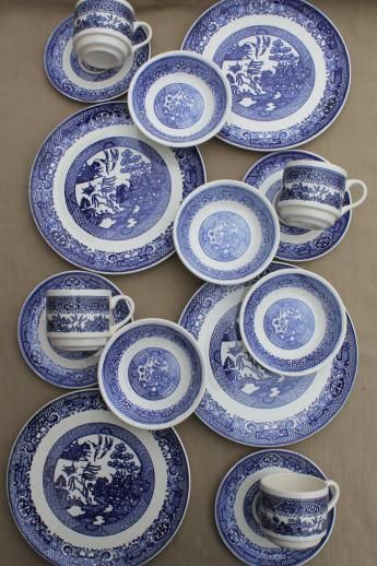 Vintage Blue Willow China Dishes Scio Pottery Dinnerware Set In Mint Condition Never Used That I Own Pinterest