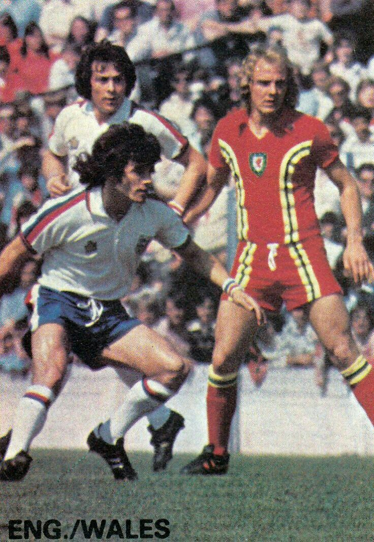Wales 0 England 1 in May 1976 at Ninian Park. Kevin Keegan, Stuart Pearson and Terry Yorath in action #HomeChamp