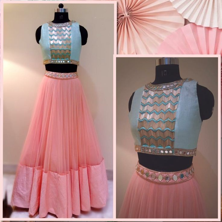 Designer Lahenga with Mirror Work Waist And High Neck Blouse.. Get it at http://mytailor.in/