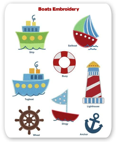 Boats Embroidery Layout