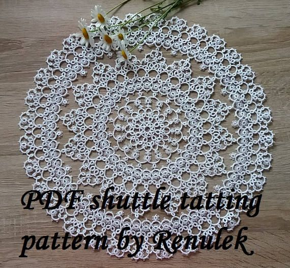 PDF Original Shuttle Tatting Pattern napkin Daisy by Renulek