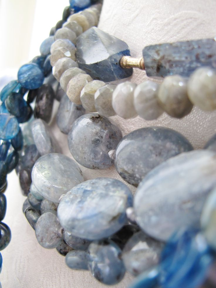 Kyanite nuggets and oval beads with lapis and labradorite necklace.  Sold at Artwear Jordaan