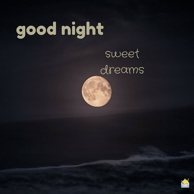 good night image with moon and sea.
