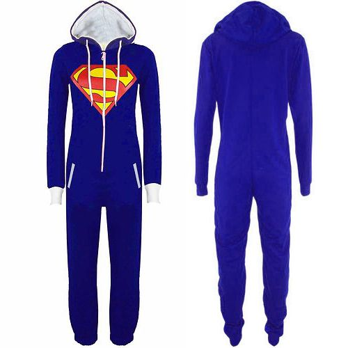 New Unisex Mens Womens Superman Print Zip Up Hooded All In One Jumpsuit Playsuit