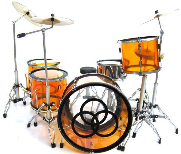 Miniature Drums Set John Bonham LED Zeppelin Orange Clear RARE | eBay