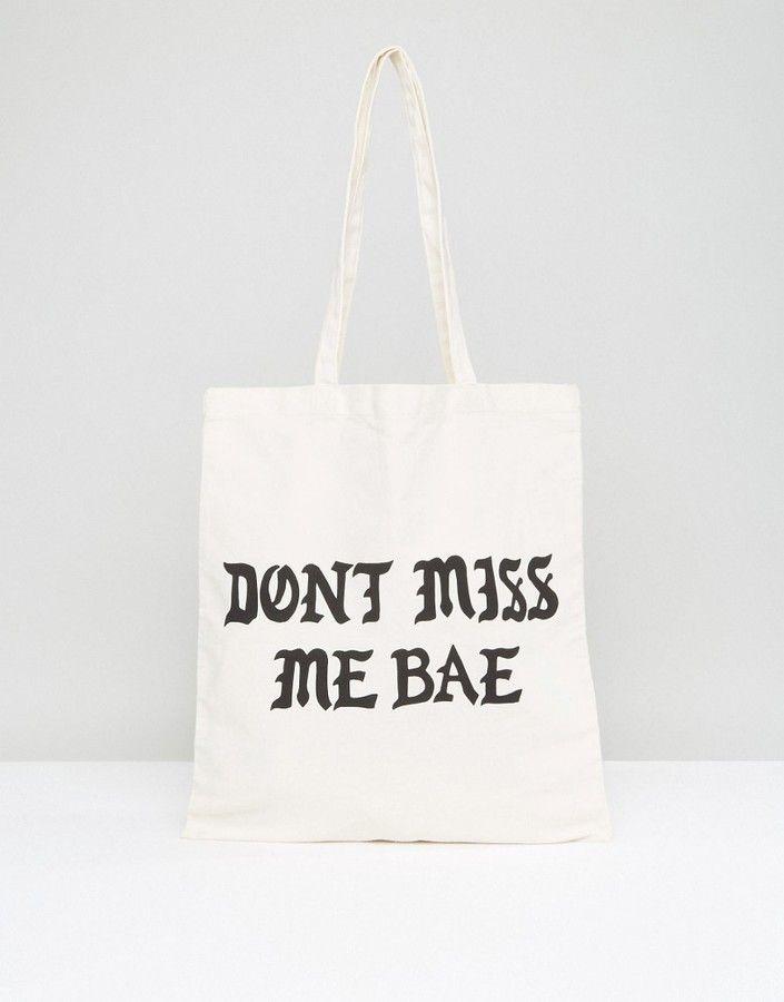 Monki Miss Me Bae Canvas Shopper Bag