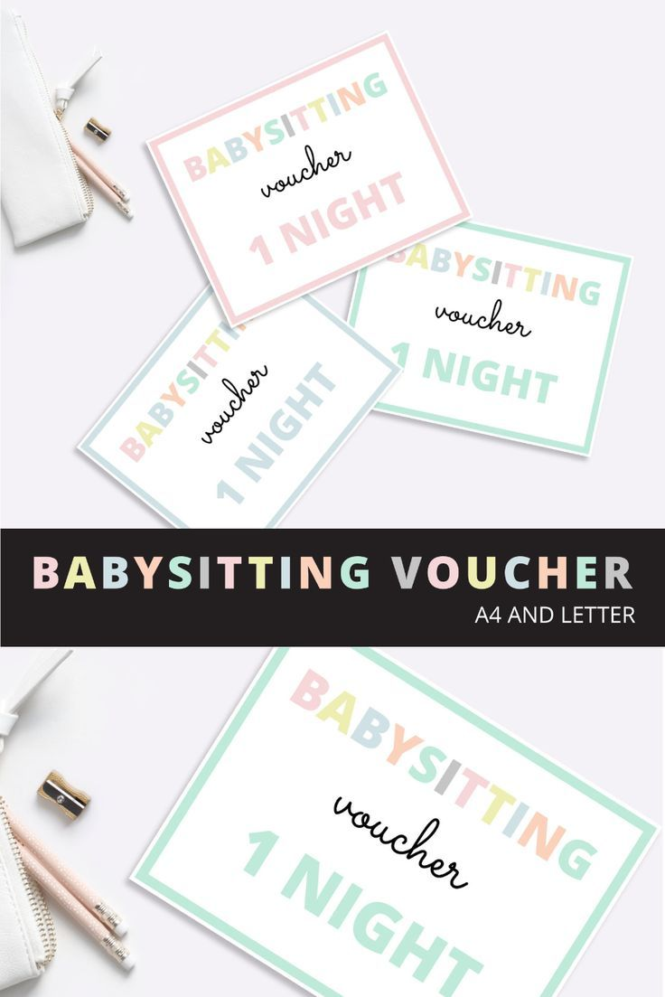 Babysitting voucher, Babysitting gift voucher, Mothers Day