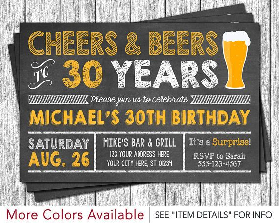 Cheers and Beers to 30 Years Birthday Invitation  30th 40th