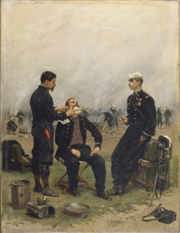 """""""The Camp Barber"""" by Jean Baptiste Edouard Detaille (1876) at the Walters Art Museum, Baltimore - From the curators' comments: """"In this peacetime scene of camp life, painted in 1876 while he was on maneuvers with the Third Corps of the army on the plains of Eure in northeastern France, [Detaille] includes himself as the man smoking at the right."""""""