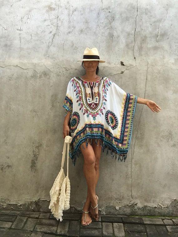 Bohemia blanco poncho de playa beach festival bohemio