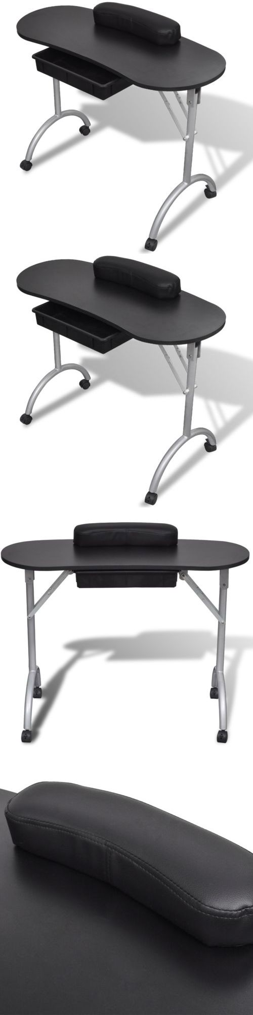 Wood swivel desk chair laquered finish warms amp padded seat ebay - Other Salon And Spa Equipment Large Black Portable Manicure Nail Table Station Desk Spa Beauty